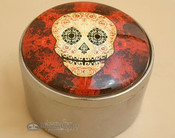"""Round Day of The Dead Jewelry Box 2.5"""" - Red"""