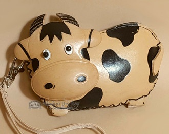 Hand Tooled Leather Southwestern Coin Purse - Cream Cown
