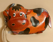 Hand Tooled Leather Southwestern Coin Purse - Rust Cow