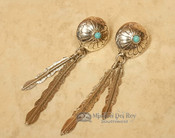 Native American Navajo Silver Earrings - Turquoise & Feathers