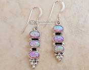 Native American Navajo Silver Earrings - Triple Opal