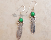 Native American Navajo Silver Earrings - Feather & Stone
