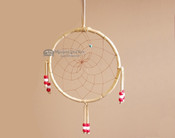 "Beaded Navajo 6"" Dream Catcher by Curtis Bitsui -Red & White"
