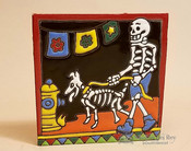 Day Of the Dead Mexican Tile -Walking The Dog