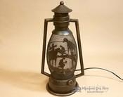 Metal Art Lantern Lamp -Cowboy at the foot of the cross