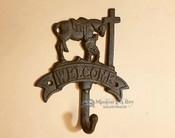 Western Metal Art Wall Hook -Cowboy at the Cross Welcome