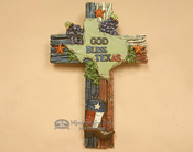 "Rustic Cross - God Bless Texas 11.75"" (c89)"
