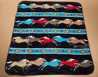 Luxury Plush Southwest Design Blanket -Horses
