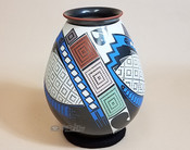 "Collectible Mata Ortiz Hand Painted Vase 8"" -Oscar Quezada"