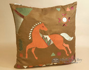 Western Designer Applique Pillow 18x18 -Horse