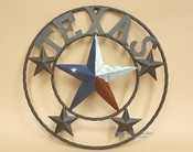 """Rustic Metal Texas Star 16"""" -Texas Flag"""