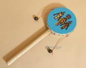 Rawhide hand spinner drum -Kachina