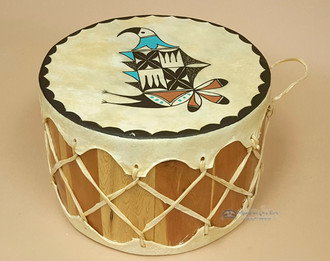 Hand Painted Tarahumara Indian Drum 12x8 -Rain Bird