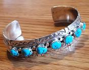 Heavy Southwest Silver & Turquoise Cuff Bracelet