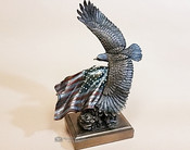 Cold Cast Bronze Sculpture -Eagle & Flag