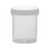 125mL Clear Polystyrene Jar, Polyethylene Foam Lined Cap, case/36