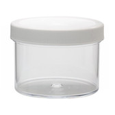 250mL Clear Polystyrene Jar, Polyethylene Foam Lined Cap, case/36