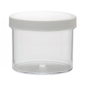 1000mL Clear Polystyrene Jar, Polyethylene Foam Lined Cap, case/24