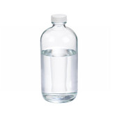 16oz Glass Boston Round Bottle, PP Cap, PTFE Lined Caps, case/12