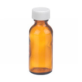 1oz Amber Glass Boston Round Bottle, PTFE Liner, case/48