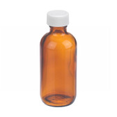 2oz Amber Glass Boston Round Bottle, PP Cap, PTFE Liner, case/24