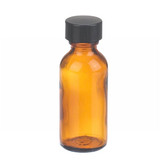 1oz Amber Glass Boston Round Bottle, Polyethylene Cone Liner, case/48