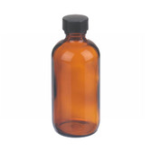 4oz Amber Glass Boston Round Bottle, Polyethylene Cone Liner, case/24