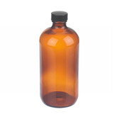 16oz Amber Glass Boston Round Bottle, Polyethylene Cone Liner, case/12