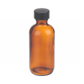 2oz Amber Glass Boston Round Bottle, Rubber Lined Caps, case/24