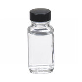 2oz French Square Glass Bottle, Clear, Rubber Lined Caps, case/48