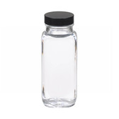 8oz French Square Glass Bottle, Clear, Rubber Lined Caps, case/24