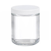 8oz Glass Jar, Straight Side Clear, PP/PTFE Liner, case/12
