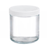 16oz Glass Jar, Straight Side Clear, PP/PTFE Liner, case/12