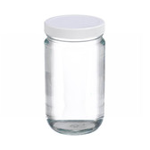32oz Glass Jar, Straight Side Clear, PP/PTFE Liner, case/12