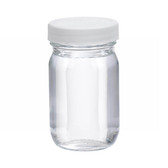 4oz Clear Glass Wide Mouth Packer Bottle, PTFE Lined PP Caps, case/24