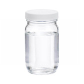 8oz Clear Glass Wide Mouth Packer Bottle, PTFE Lined PP Caps, case/24