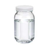16oz Clear Glass Wide Mouth Packer Bottle, PTFE Lined PP Caps, case/24