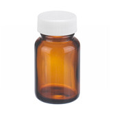 1oz Amber Wide Mouth Packer Bottle, PP/Poly Vinyl Liner, case/24