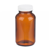 8oz Amber Wide Mouth Packer Bottle, PP/Poly Vinyl Liner, case/24
