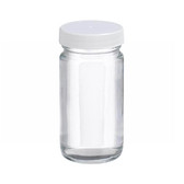 4oz Clear Wide Mouth Straight Side Glass Bottle, Vinyl Lined PP Caps, case/24