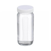 8oz Clear Wide Mouth Straight Side Glass Bottle, PTFE Lined Caps, case/24