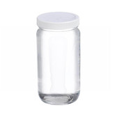 16oz Clear Wide Mouth Straight Side Glass Bottle, PTFE Lined Caps, case/24
