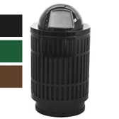 Outdoor Trash Can Receptacle, 40 Gal Dome Top, Plastic Liner, Black