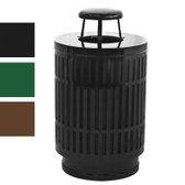 Outdoor Trash Can Receptacle, 40 Gal Rain Top, Plastic Liner, Black