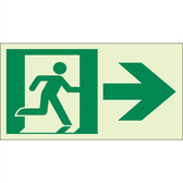 "EcoGlo Glow in the Dark ""Exit to the Right"" Sign, 1-Sided, Unframed"