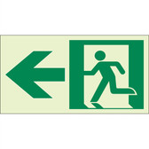 "EcoGlo Glow in the Dark ""Exit to the Left"" Sign, 1-Sided, Unframed"