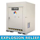 Justrite 911041 Outdoor Safety Locker, Non-Combustible, 4 Drum w/ Explosion Relief