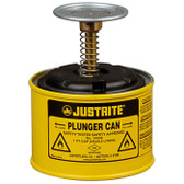 Justrite 10018 1 Pint Steel Plunger Can, Yellow