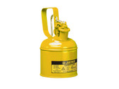 Justrite 10111 1 Quart Steel Safety Can, Yellow