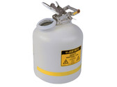 Justrite HDPE, Steel Liquid Disposal Can, 5 gals, White